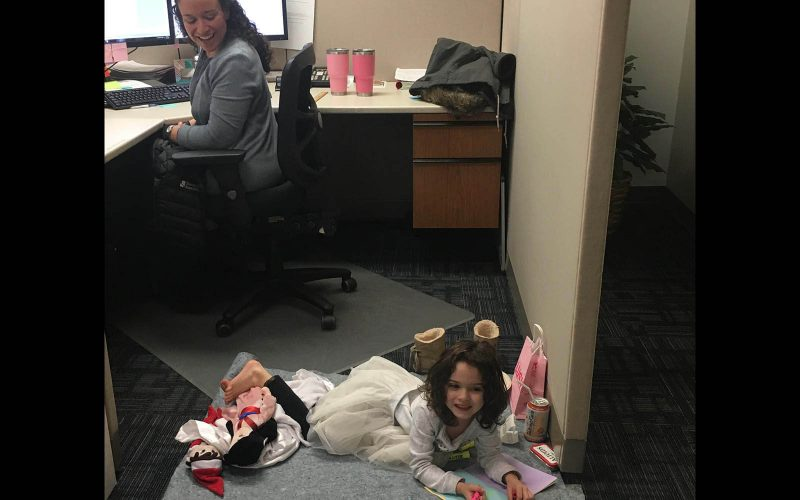 Daughter at work with mom – Shannon & Associates CPAs Kent, WA